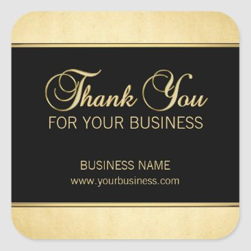 Professional Business Custom Thank You For Your Business Gold Black Square Sticker