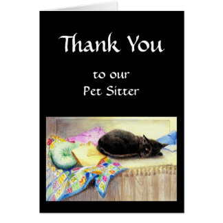 Custom Thank You, Greeting, Pet, Cat Sitter Cards