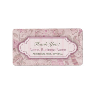 Custom Thank You Labels Pink Mauve Shabby Chic