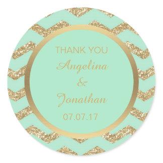 Custom Thank You Mint Green Glitter Gold Wedding Classic Round Sticker