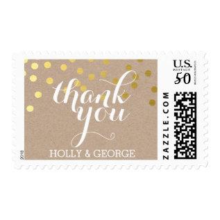 Custom Thank You Modern Gold Confetti Kraft Type Postage at Zazzle