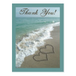 Custom Thank You Postcard- Sand Hearts/Aqua Beach Postcard