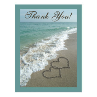 Custom Thank You Postcard- Sand Hearts/Aqua Beach Postcard