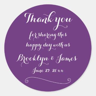 Custom Thank You Purple Wedding Stickers