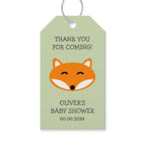 Custom thank you red fox baby shower party favor gift tags