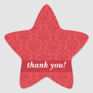 Custom thank you red luxury damask stickers