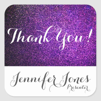 custom thank you stickers purple glitter