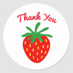 Custom thank you stickers with red strawberry logo