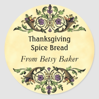 Custom Thanksgiving Cornucopia Baking Tag Sticker