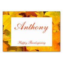 Custom Thanksgiving Place Cards Fall Leaves