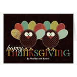 Custom Thanksgiving Silly Patchwork Turkey Greeting Card