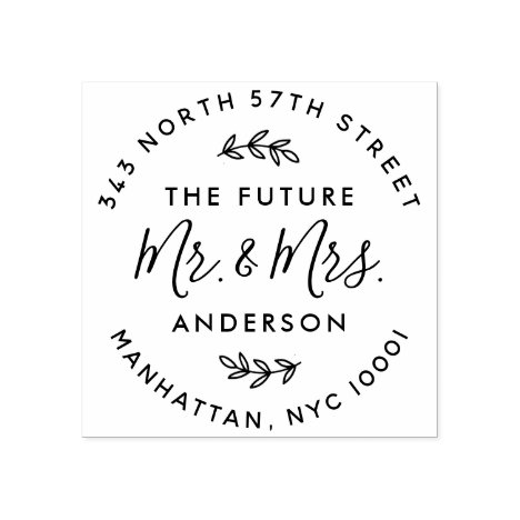 Custom The Future Mr & Mrs Wedding Return Address Rubber Stamp