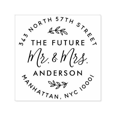 Custom The Future Mr & Mrs Wedding Return Address Self-inking Stamp