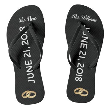 Custom The New Mrs. Gold Rings Bridal Flip Flops