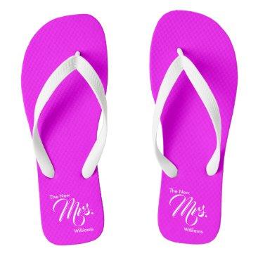 Custom The New Mrs. Magenta Wedding Flip Flops
