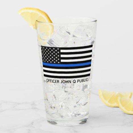 Custom Thin Blue Line American Flag Glass