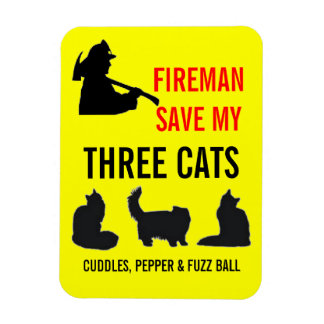 Custom Three Cat Fire Safety Rectangle Magnet