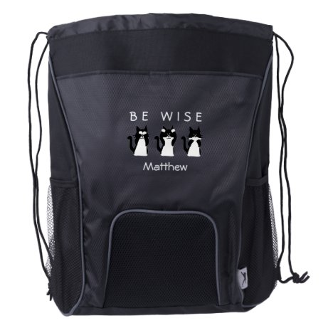 Custom Three Wise Kitties Black and White Drawstring Backpack