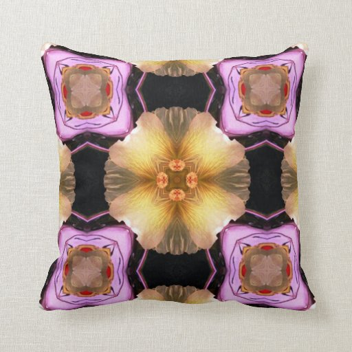 Lavender Flower Throw Pillow : Custom Throw Pillow Purple Flower Abstract Zazzle