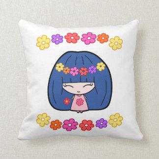 Custom Throw Pillows With Cute Kawaii Girl