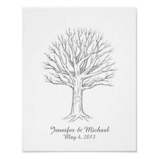 Custom Thumbprint Fingerprint Wedding Tree Guest B Poster