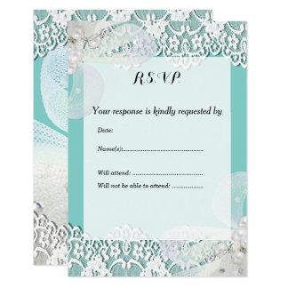 Custom Tiffany Blue and Lace RSVP Wedding Card