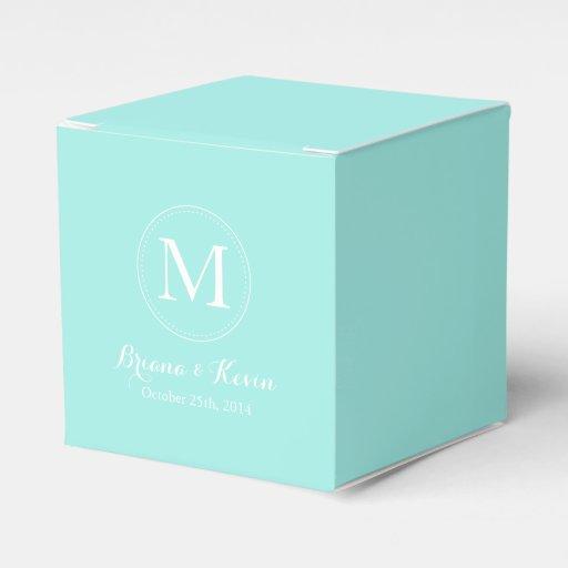 Custom Tiffany Blue Colored Monogram Favor Boxes thumbnail