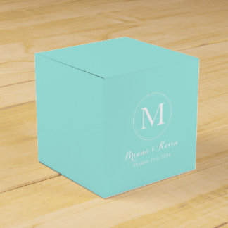 Custom Tiffany Blue Colored Monogram Favor Boxes