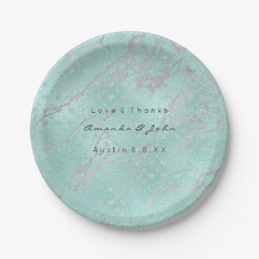 McTiffany Tiffany Aqua Custom Tiffany Gray Hearts Silver Marble VIP Paper Plate