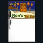 "Custom Tiki Bar Sign Dry Erase Board<br><div class=""desc"">Add some flair to your bar with this swanky deluxe customizable tiki bar design. It's pefect for a luau,  60's theme party or anytime. Say aloha and get a groovy tiki shirt or gift today.</div>"