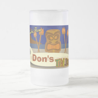 Custom Tiki Bar Sign Frosted Glass Beer Mug