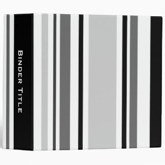 Custom Title—Mixed Gray, Black, White Stripes 3 Ring Binder