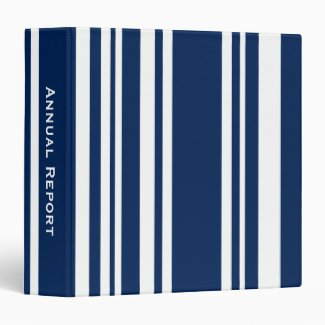 Custom Title—Varied Navy and White Stripes Binder