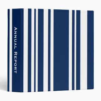 Custom Title—Varied Navy and White Stripes Binder