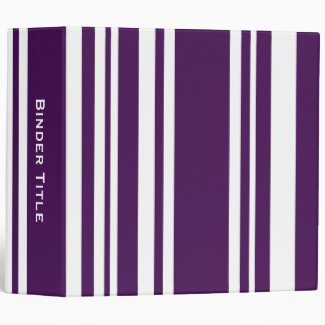 Custom Title—Varied Purple and White Stripes 3 Ring Binder