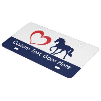 Custom TN Walking Horse Heart Silhouette License Plate