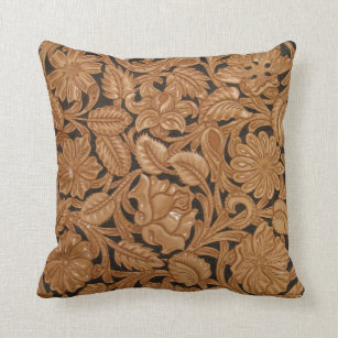 Tooled Leather Pillows Decorative Amp Throw Pillows Zazzle