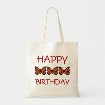 Custom Tote Butterfly Happy Birthday by creativeconceptss at Zazzle