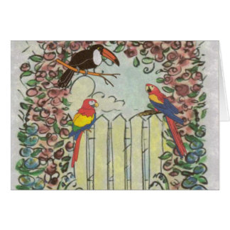 Custom Toucan Parrots on Picket Fence Rose Arbor Card