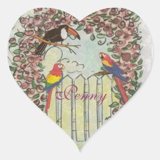 Custom Toucan & Parrots on Picket Fence Rose Arbor Heart Sticker