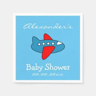 Custom toy airplane baby shower napkins for boy