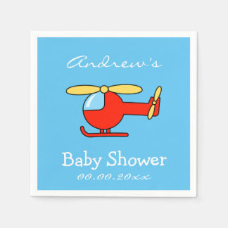 Custom toy helicopter baby shower napkins