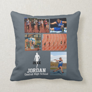 Custom Track & Field Photo Collage Name Team Year Throw Pillow