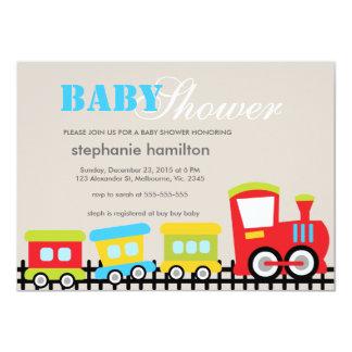Custom transportation train baby boy shower personalized invites