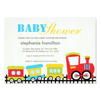 Custom transportation train baby boy shower custom invite