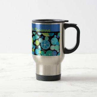 Custom Travel Mug, Quirky Blue Moons Pattern Travel Mug
