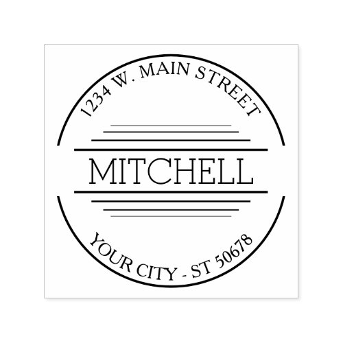 Custom Trendy Modern Chic Simple Art Deco Motif Self_inking Stamp