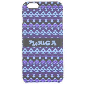 Custom Tribal Inspired Blue Geometric Pattern Clear iPhone 6 Plus Case