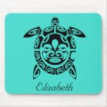 Custom Tribal Mask Sea Turtle Turquoise Mouse Pad