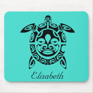 Custom Tribal Mask Sea Turtle Turquoise Mouse Pad